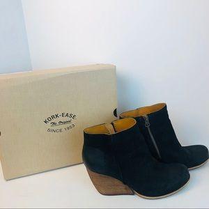 Kork-ease Natalya black suede bootie 7.5 boots